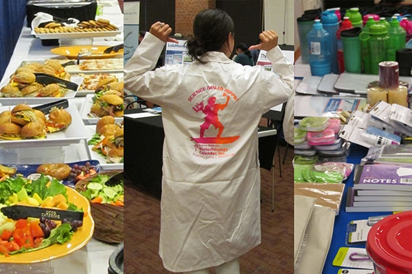 Life science fair with lab equipment, current events and five star catering and door prizes at UC San Diego